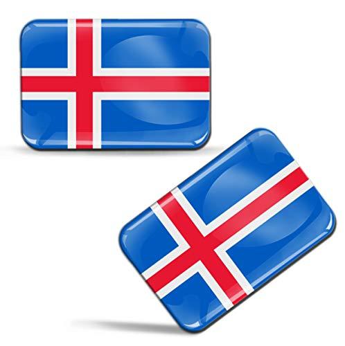 Biomar Labs® 2 x Aufkleber 3D Gel Silikon Stickers Island Flagge Nationalflagge Isländische Fahne Iceland Flag Auto Motorrad Fahrrad Fenster Tür PC Tablet Laptop F 79