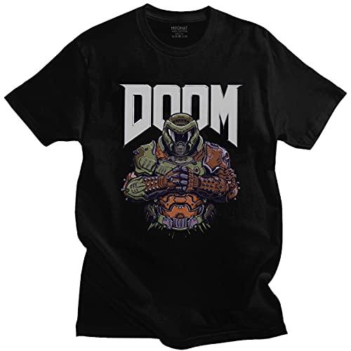 Cool Doom Eternal T Shirt Men Short-Sleeve Game Slayer Skull Tshirt Printed Streetwear T-Shirt Pure Cotton Slim Fit Tee Tops Black XL