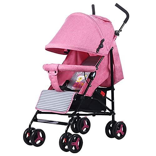 ADFHZB Cochecito súper Ligero de 5,4 kg con Capota para el Sol Cochecito Plegable para niños con función reclinable bebé Desde el Nacimiento hasta los 3 años-antichoque 4 Ruedas (Color : Pink)