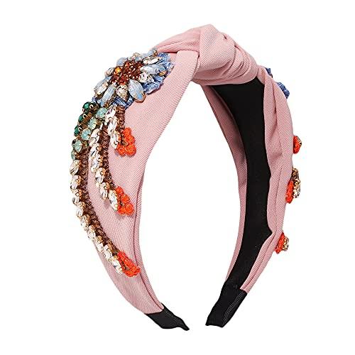YAZILIND, diademas anchas con nudo Floral de diamantes de imitación para mujer,...