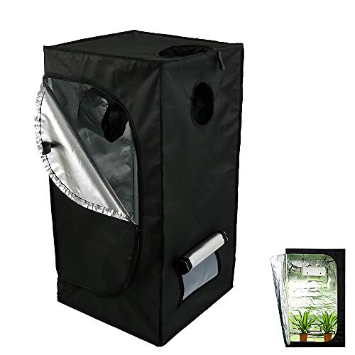 Grow Tent 600D Oxford Growth Canopy Bud Greenhouse Gardening Reflective Mylar Hydroponic Grow Tent with Observation Window 50 x 50 x 100 CM for Indoor Plant Growing