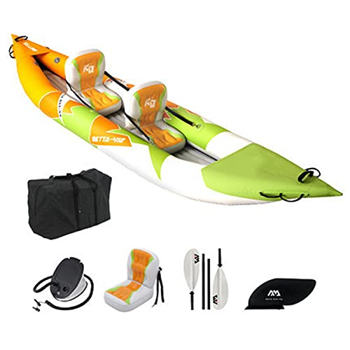 Barca Hinchable Kayak Bote Inflable Tipo V Inflatable Boat 2 Personas con Asiento Impermeable PVC Remo y Bomba con Aletas para Surfear 412x80cm,Double
