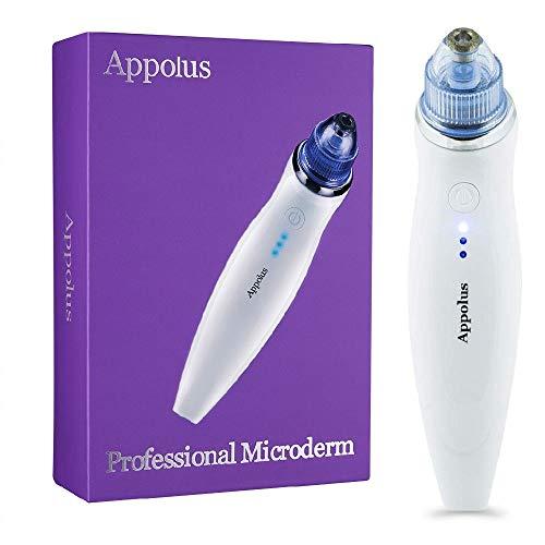 Microdermabrasion Machine - Appolus Premium Diamond Microdermabrasion Device For Flawless Glowing Skin - 3 Diamond Tips - 6 Heads - Anti Aging Face Lifting Skin Jawline Tightening Tool
