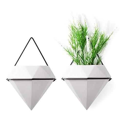 T4U 15 cm diamentowy wazon ścienny ceramika biały, geometryczne motywy ścienne donica na rośliny wiszące do roślin pokojowych, zestaw 2 sztuk