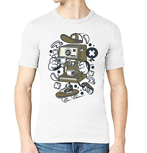 Kreskówka stylizowany ekspres do kawy łyżwiarz miejski napój męski T-shirt z okrągłym dekoltem, biały, S
