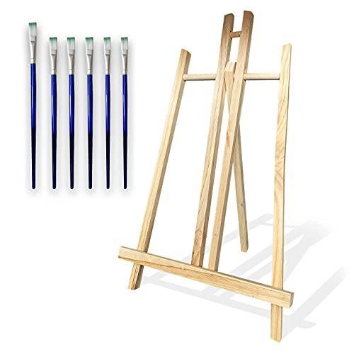 Caballete mesa de madera para pintar ideal para lienzos de hasta 40cm que incluye pack de 6 pinceles para pintura acrilica. Caballete pintura ajustable y portable ideal para exposicion de cuadros.