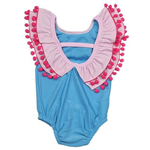 Baby/peuter meisjes zon bescherming badpak, Peter Pan kraag badmode, pak voor meisjes, voor strand, zwembad, water party,(90)