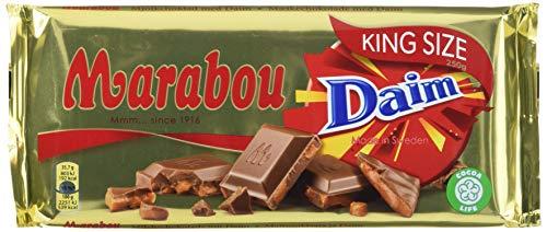 Marabou Daim Schokolade 1 x 250 g – zartschmelzende Milchschokolade mit Mandelkaramellstückchen – einzigartig leckere schwedische Süßigkeit – Daim