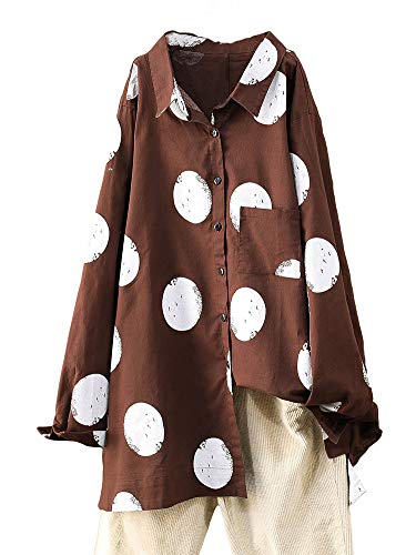 FTCayanz Damen Bluse Langarm Shirts Polka-Dots Locker Hemd Freizeit Oberteil (XL, Kaffee)