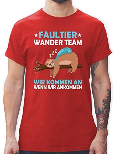 Sprüche - Faultier Wander Team - L - Rot - faultier Tshirt - L190 - Tshirt Herren und Männer T-Shirts