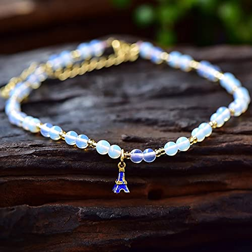 Feng Shui Anklet Natural Gemstone Moonstone Ankle Bracelet Lucky Charm for Women Reiki Healing Crystal Quartz Chakra Meditation Beach Foot Jewelry Adjustable Attract Prosperity Good Luck