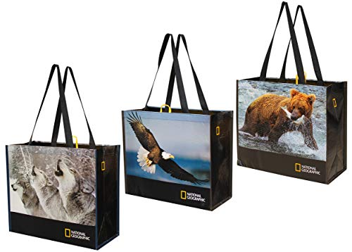 Reusable Grocery Bags Shopping Totes with National Geographic Prints Heavy Duty Laminated Recycled Rpet (Set of 3) (Eagle/Bear/Wolves)