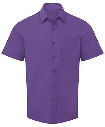 Alexandra Cadenza STC-NM91PU-16.5 Easycare Overhemd voor heren met korte mouwen, 64% Polyester/35% Katoen, Plat, Grootte: 16.5, Paars