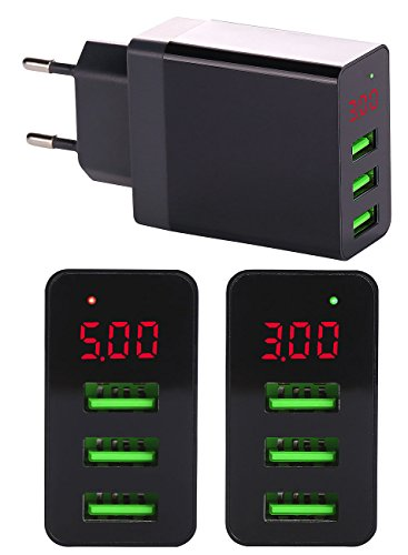 reVolt 3 Fach USB Ladegerät: Intelligentes 3-Port-USB-Wandnetzteil mit LED-Display, 3,1 A, 15,5 W (Intelligentes Ladegerät Handy)