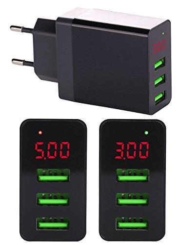 reVolt USB Netzteil: Intelligentes 3-Port-USB-Wandnetzteil mit LED-Display, 3,1 A, 15,5 W (Intelligentes Ladegerät Handy)