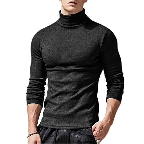 KODOO Hombre Cuello Alto Jersey de Punto Básico Manga Larga de Color Liso Camiseta con Cuello Alto Slim Fit para Hombre