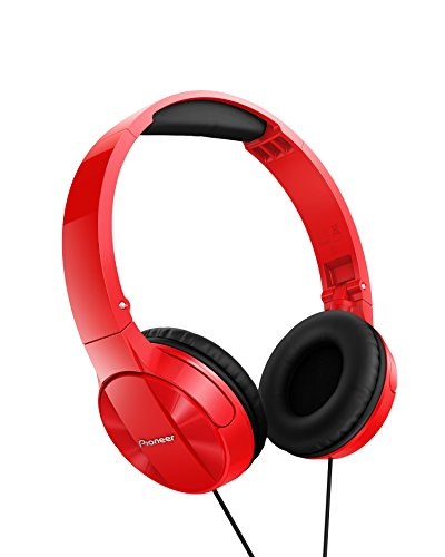 Pioneer MJ503 Cuffie On-Ear con cavo (qualità audio elevata e bilanciata, archetto imbottito, pieghevole e facile da trasportare, certificato per iPod, iPhone e iPad), rosso