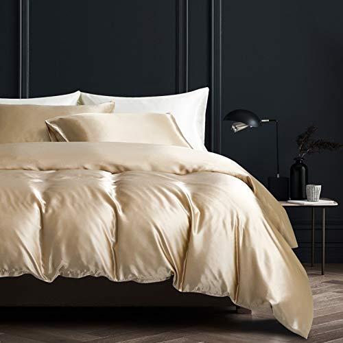 Damier Ropa de cama 135 x 200 beige satén funda nórdica juego liso brillante de alta calidad satén Deluxe funda de edredón con cremallera y funda de almohada 80 x 80 cm