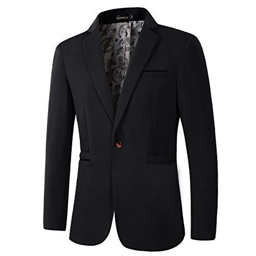 Men's Slim Fit Casual One Button Blazer Jacket (1416 Black, XL)