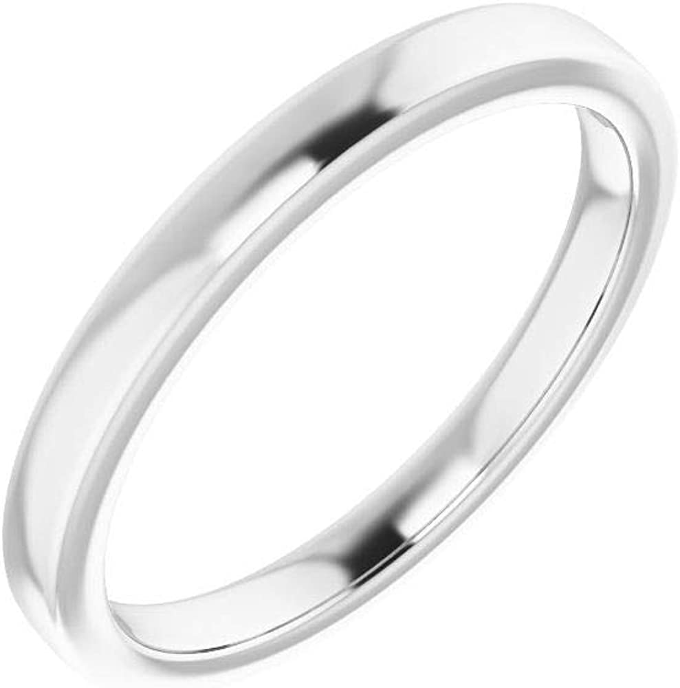 Solid 10K White Gold Curved Notched Wedding Band for 6mm Round Ring Guard Enhancer - Size 7