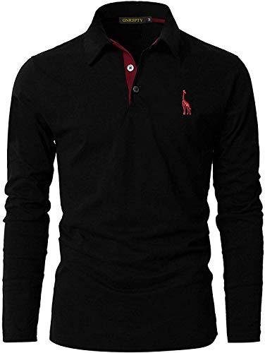 GNRSPTY Polo Manga Larga Hombre Algodon Slim Fit Camiseta Colores de Contraste Bordado de Ciervo Deporte Basic Golf Negocios T-Shirt Top,Negro,XXL