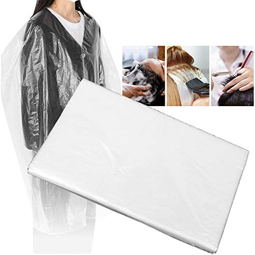 """AEEHFENG Disposable Hair Cutting Capes - Professional Salon Barber Capes for Clients - Plastic Waterproof Haircut Coloring Shampoo Salon Capes for Stylist and Home (48""""×59"""",50 pcs)"""