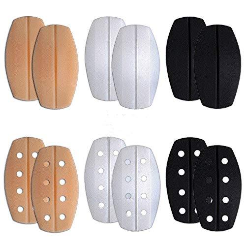 Creamlin BH-Träger Kissen Halter Silikon rutschfeste biegsame Schulterprotektoren Pads BH-Kissen Pads 6 Paar (Schwarz Beige und Weiß)
