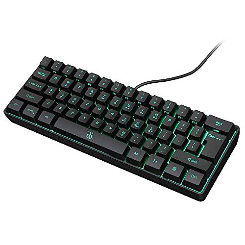 K60 60% Gaming Keyboard, 61 Keys Multi Color RGB Illuminated LED Backlit...