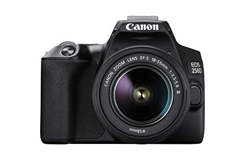 EOS 250D - Cámara digital (24, 1 megapíxeles, pantalla de 7,7 cm (3'), Vari-Angle Display, sensor APS-C, 4K, Full HD, DIGIC 8, WLAN, Bluetooth), incluye objetivo EF-S 18-55mm f/3.5-5,6 III, Negro