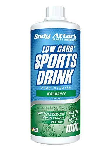 Body Attack Low Carb Sports Drink, Sportgetränkekonzentrat, Woodruff / Waldmeister, (1 x 1000ml)