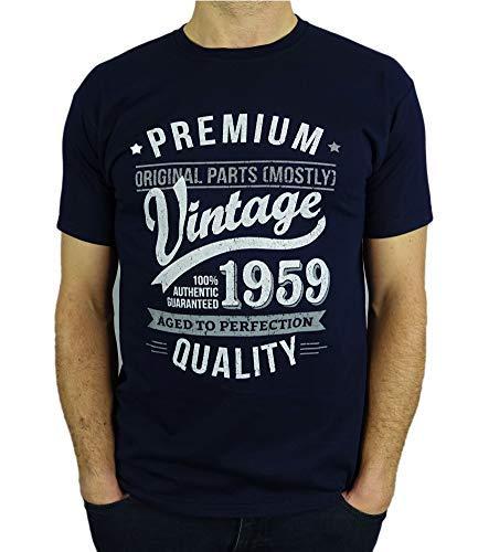 My Generation Gifts Vintage Year - Aged To Perfection - Regalo di Compleanno per 60 Anni Maglietta da Uomo Blu Marino M