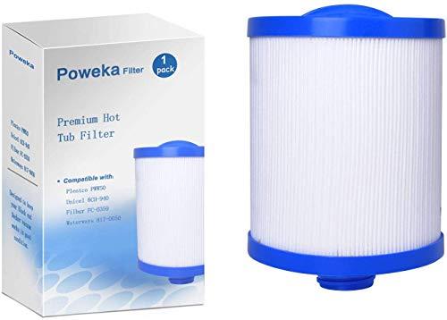 Poweka PWW50 Cartucho de Filtro para SPA Jacuzzi y Piscina Pleatco, Compatible con Unicel 6CH-940 Filbur FC-0359 Waterways 817-0050 Bañera de Hidromasaje (1 Pieza)