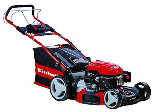 Einhell Benzin-Rasenmäher GE-PM 48 S HW-E Li (1,8 kW, 2850 U./Min., 48 cm Schnittbreite, E-Start Funktion, 6-stufige Schnitthöhenverstellung 25-70 mm, Mulchfunktion, inkl. 1,5 Ah Power X-Change-Akku)