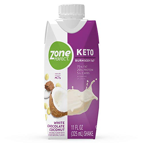 ZonePerfect Keto Shake, White Chocolate Coconut, True Keto Macros To Burn Body Fat, Made With MCTs, 11 fl oz, 12 Count