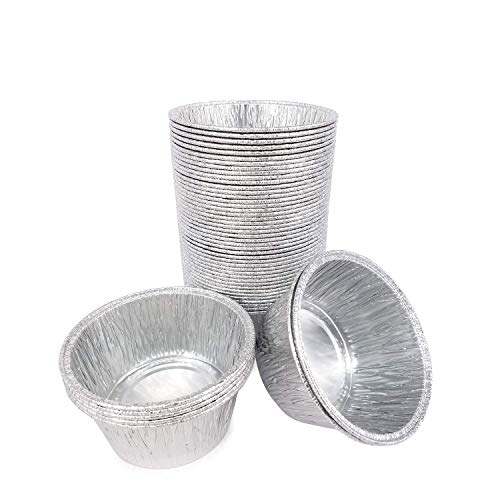 50pcs desechables bandejas de aluminio recipientes de aluminio redondo Pastel taza 80x80x35mm para cocina hornear barbacoa (barbacoas) hacer tartas postres hacer alimentos para niños Heat familia