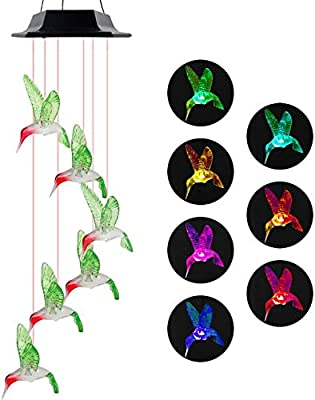 Bizbravo Wind Chimes, Hummingbird Wind Chimes Outdoor,Solar Wind Chimes, Gifts for mom, Birthday Gifts for Women (Solar Hummingbird Wind Chime)