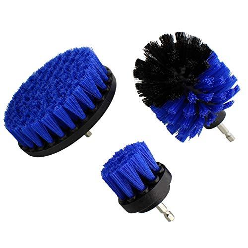 ABN Nylon Scrubber Drill Attachment Cleaning Brush 3pc Set, Blue Medium Bristle Stiffness - for 1/4in Power Drill
