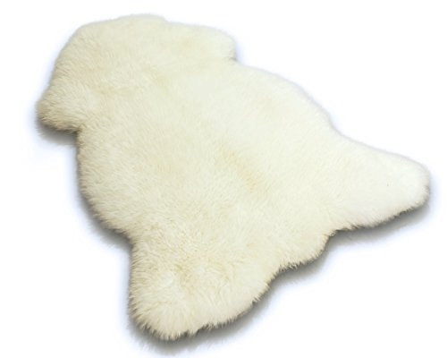 Zaloop Öko Lammfell Schaffell weiß 100-110 cm echtes Fell ökologisch gegerbt
