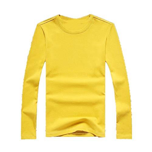 Herren-T-Shirt, langärmelig, Rundhalsausschnitt, einfarbig, Baumwolle Gr. M, gelb