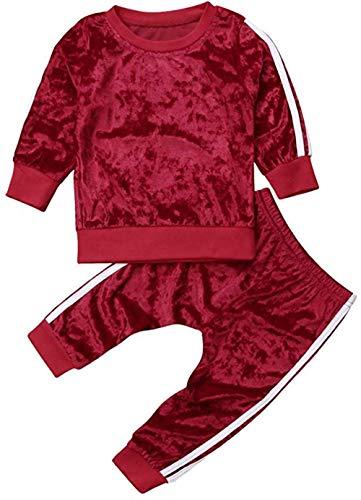 Chloefairy Baby Jogginganzug mit Langarm Sweatshirt Jogginghose Lang Samt Unisex Mädchen Jungen Sportanzug Pullover Legging Bekleidung Outfit Set für Kleinkinder Herbst Winter (Rot, 110)