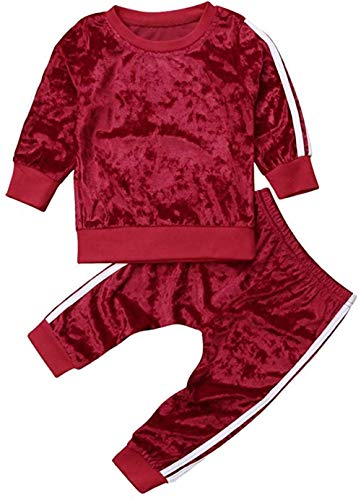 Chloefairy Baby Jogginganzug mit Langarm Sweatshirt Jogginghose Lang Samt Unisex Mädchen Jungen Sportanzug Pullover Legging Bekleidung Outfit Set für Kleinkinder Herbst Winter (Rot, 120)