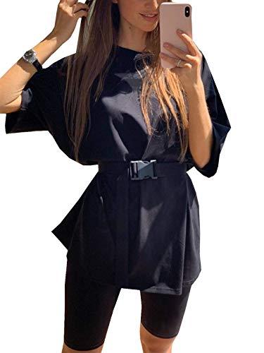 Women 2 Piece Outfit Sets Oversized T-Shirt Tops Biker Shorts Casual Workout Sports Tracksuit Set with Belt Black L