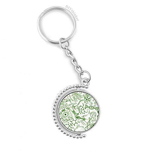 DIYthinker Grüne Mikroskop Zellen Struktur Biologische Drehbare Schlüsselanhänger Ringe 1.2 Zoll x 3.5 Zoll Mehrfarbig
