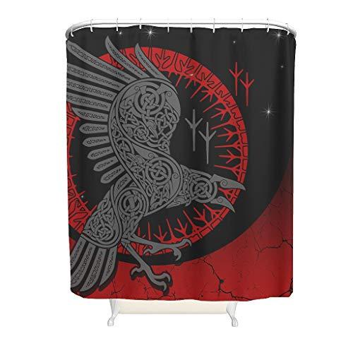 Ouniaodao Viking Raven - Cortina de ducha estilo diversificación, lujosa, lavable, para decoración del hogar, color blanco, 150 x 180 cm