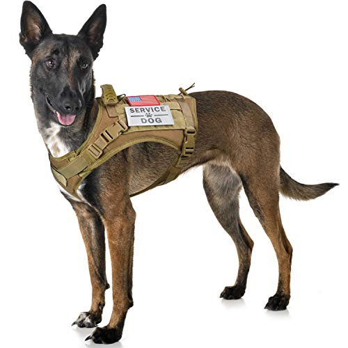 Tactical Service Dog Harness Vest,K9 Adjustable Work Water-Resistant Military Comfortable Molle Handle with Extenrder Strap (L, Khaki)