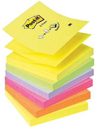 Post-it Z-Notes Ricarica Foglietti Adesivi Colorati per Dispenser, Set di 6 Blocchetti Riposizionabili per Memo, Note, Appunti, Formato 76x76 mm, Colori Assortiti Giallo, Rosa, Viola, Arancione, Verde