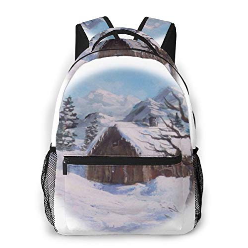 Casual Backpacks, School Backpacks, Youth Backpacks, Rucksacks, School Bags for Boys and Girls, Large Capacity, Hiking Backpacks Abandoned-Cabin-Vignette-