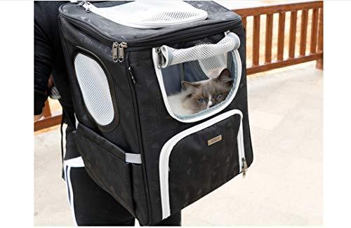 KaBurger® Hunde Rucksäcke Faltbarer Haustiertragetasche Hundetasche Transportrucksack für Hunde und Katzen im Flugzeug, Auto oder in der Bahn (L 42 * 33 * 28CM,Schwarz)