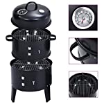 vidaXL 3-in-1 Charcoal Smoker BBQ Grill Easy to Assemble Integrated Water Bowl Outdoor Barbecue Barrel Smokers… 2