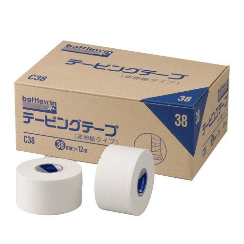 ニチバン バトルウィンテーピングテープ 非伸縮タイプ 38mm幅 12m巻き 12巻入り